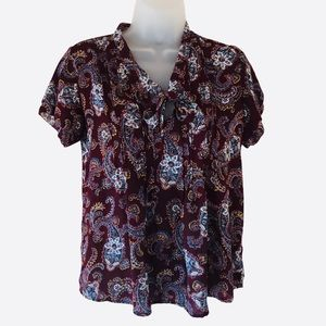 Lands End Women's Size 6P Paisley Blouse Tie Neck